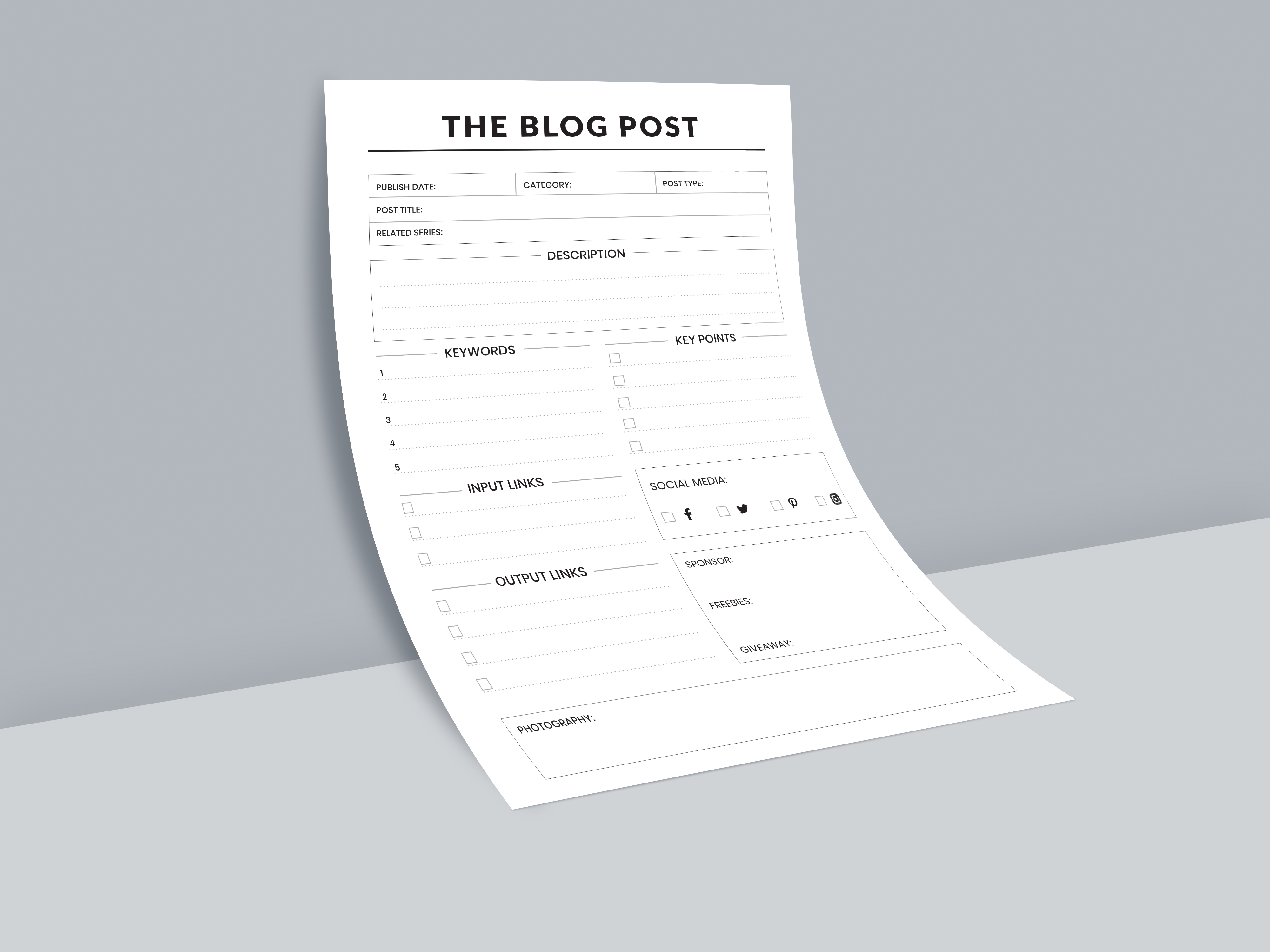 Instant Download - Printable Blog Post Planner - A4 and A5