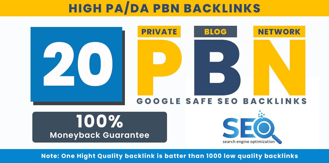 20 High Quality PBNs - Dofollow Backlinks