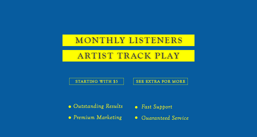 Organic 1000 Track Play and Monthly Listeners for Spotiify Album Song of Artist Profile