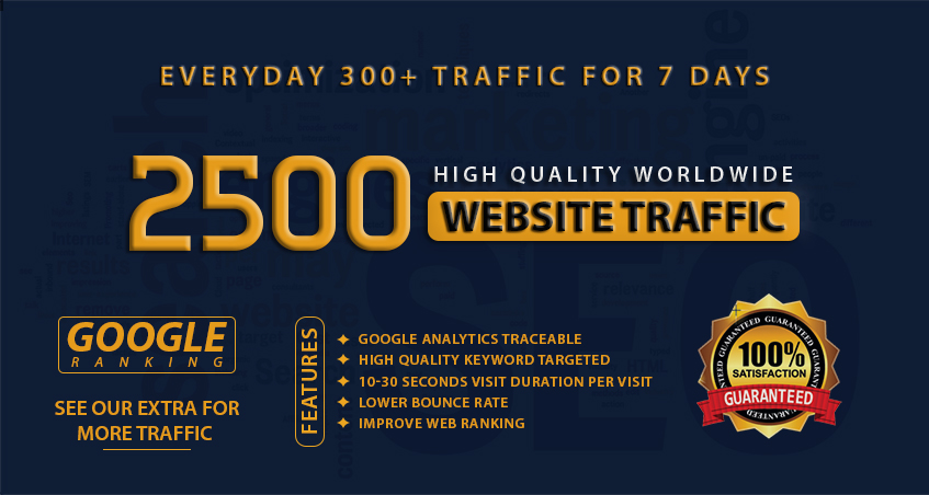 Do 2500 Worldwide Website Traffic - Daily 300+ Traffic For 7 days