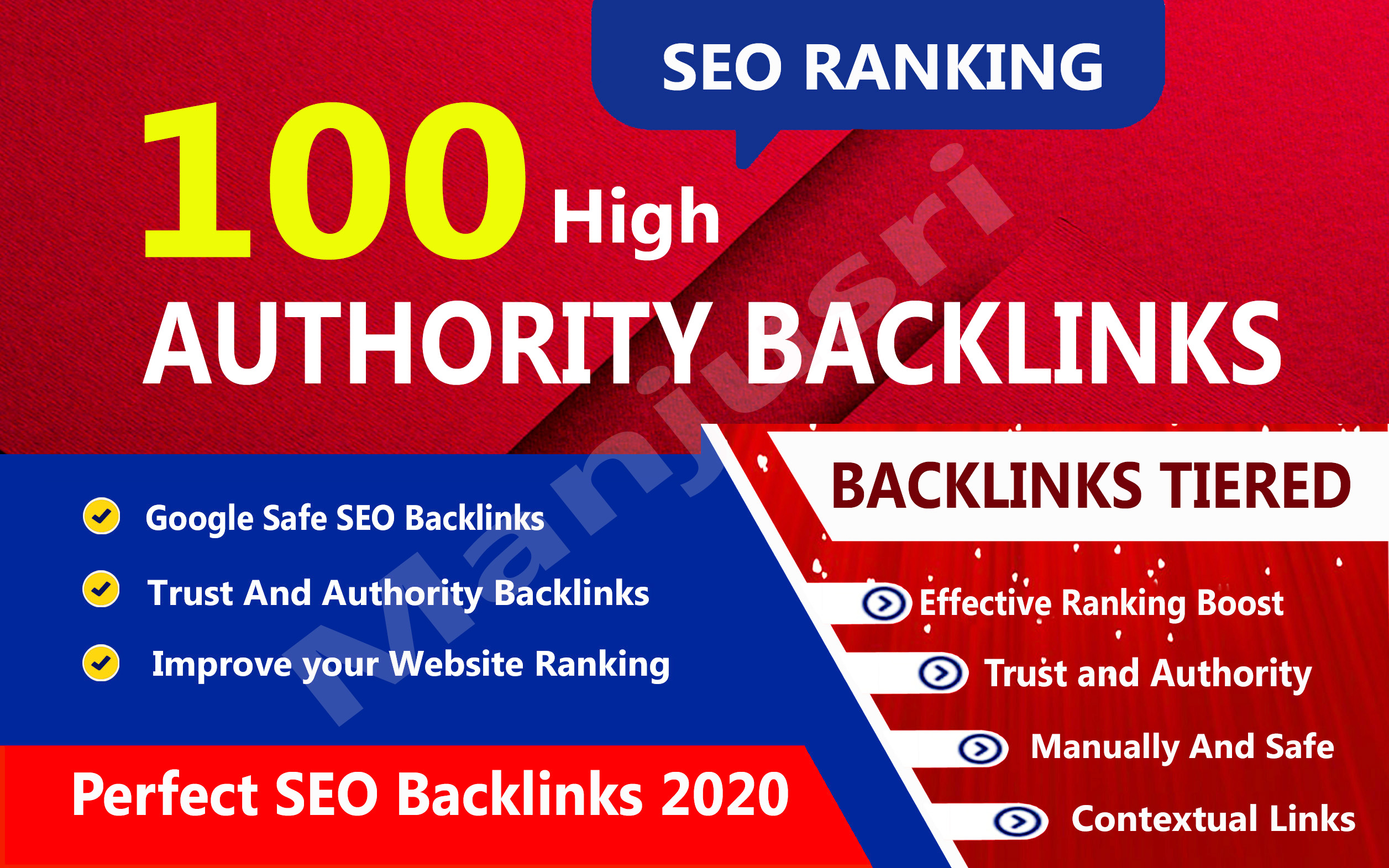 Rank your website on google,  100 high authority backlinks