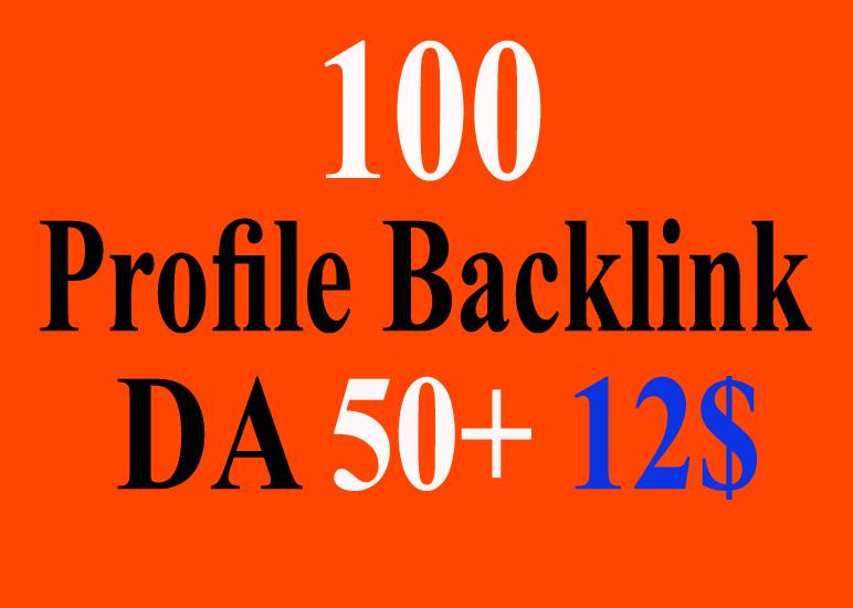 High Quality 100 High Authority Profile Backlinks 50+ DA PR