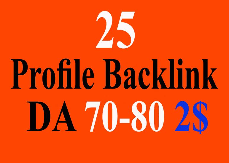 High Quality 25 High Authority Profile Backlinks 70-90 DA PR