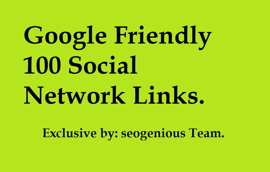 Google Friendly 100 Social Network Links