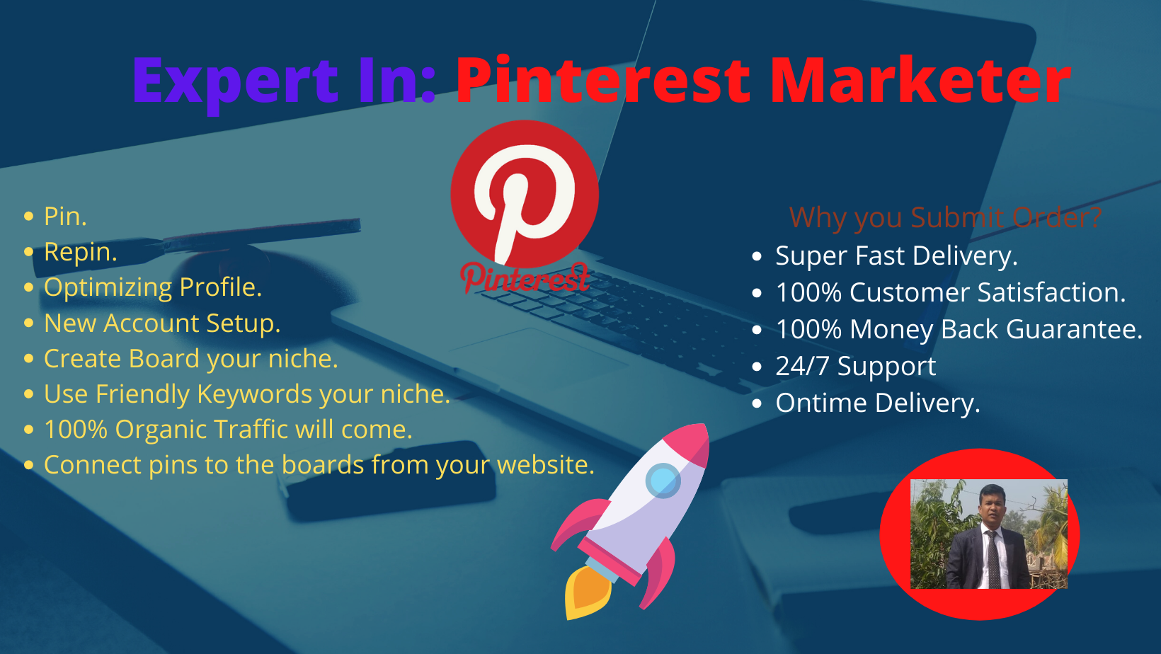 Provide White hat 5 Board and 10 Pins Pinterest Marketing