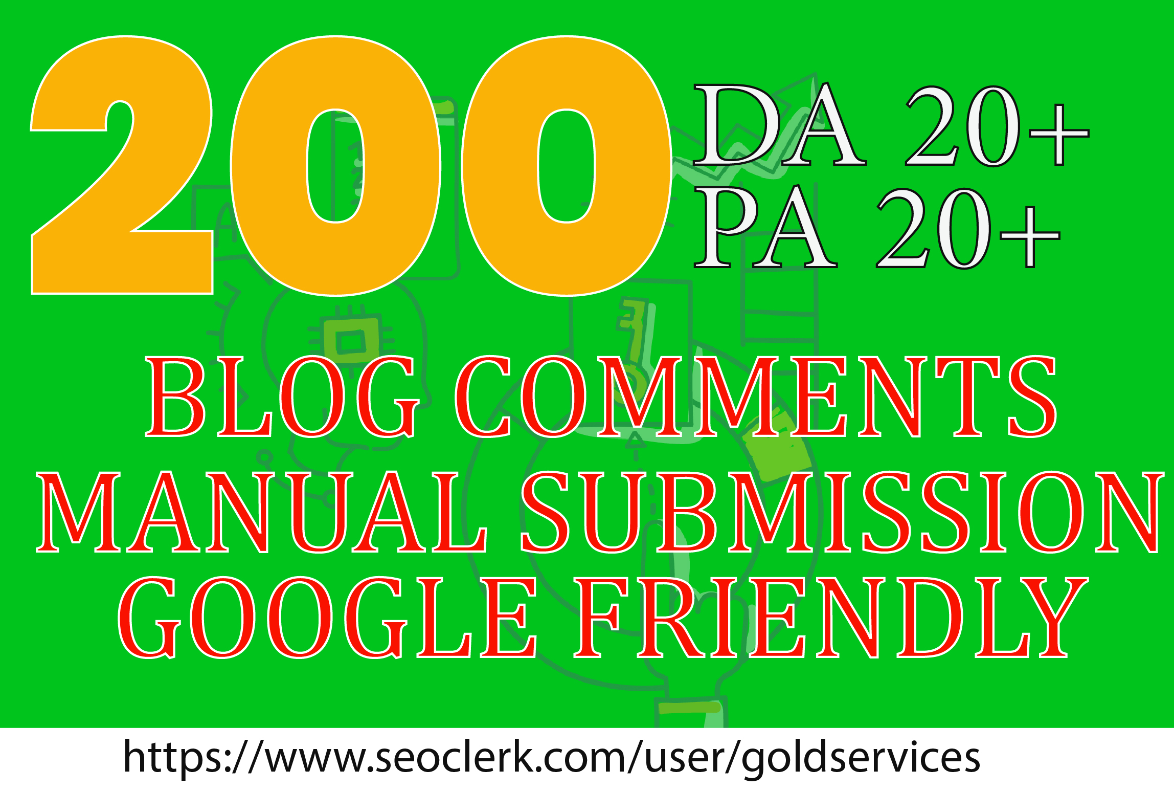 get 200 do follow blogcomments on dA pa 20 plus quality backlinks