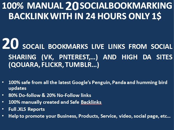 Manually 20 Instantlive Social Bookmarking links For Your Website or page or video within 24 hours