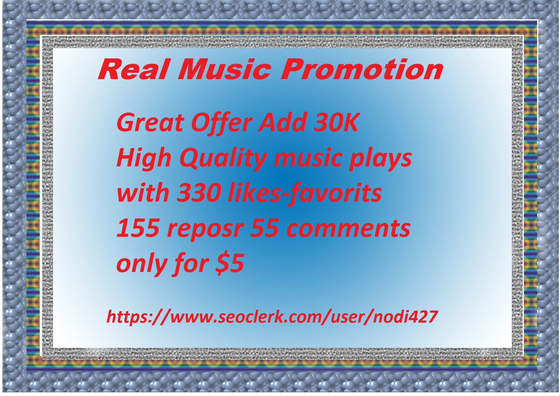 Music promotion 30 K High Quality music play with 330...