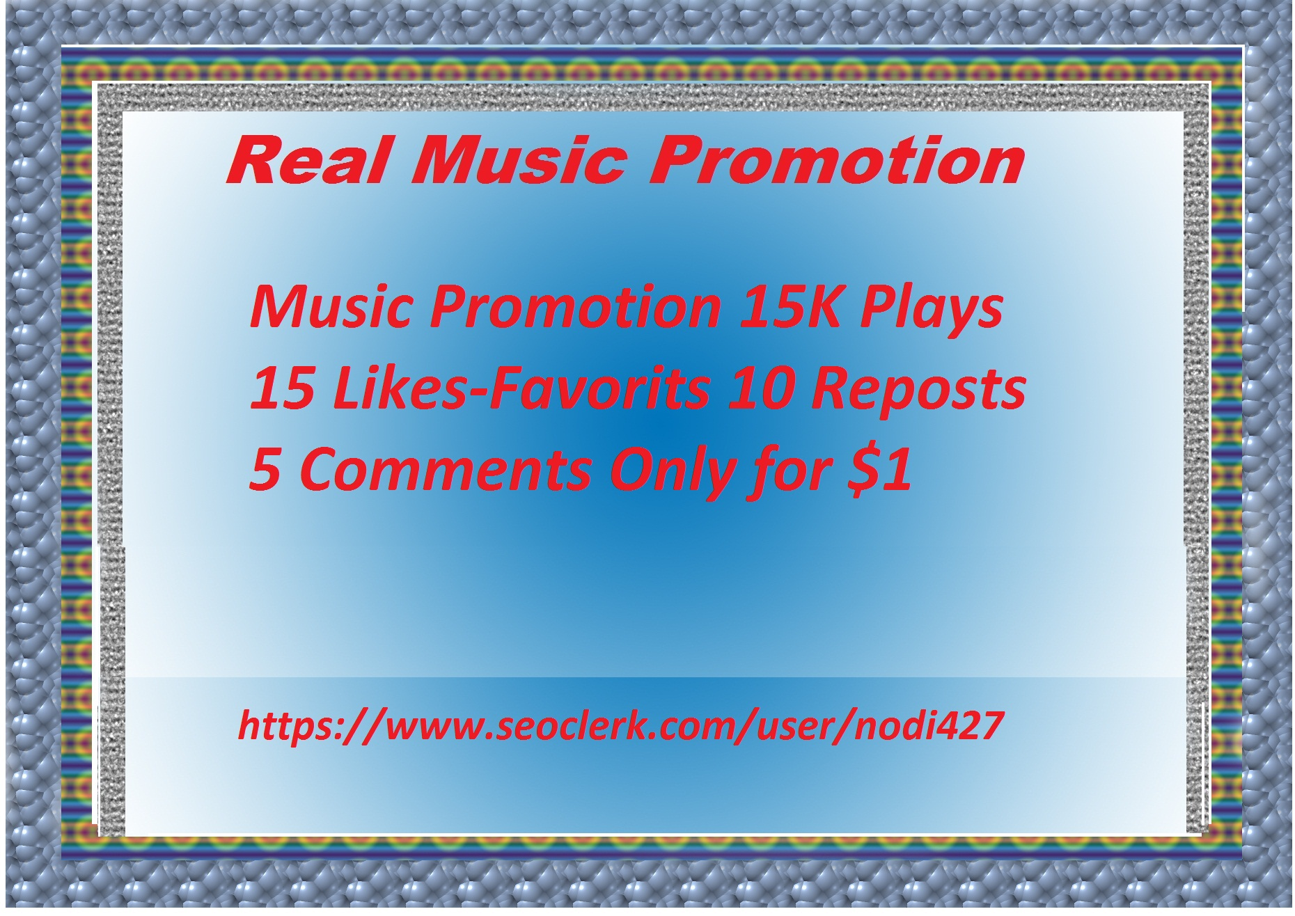 Music Promotion 15 K play 15 likes 10 reposts 5 comme...
