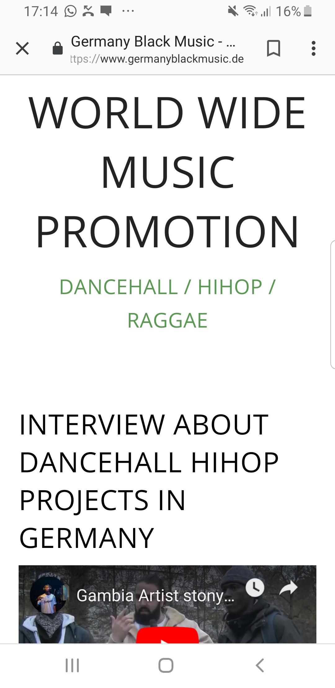Website promotion for hihop and dancehall in germany