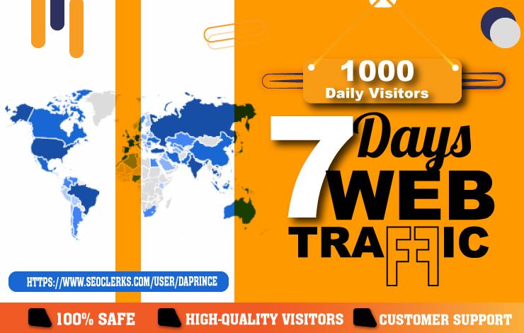 Drive 7 Days Targeted Organic & Social Media WEB TRAFFIC