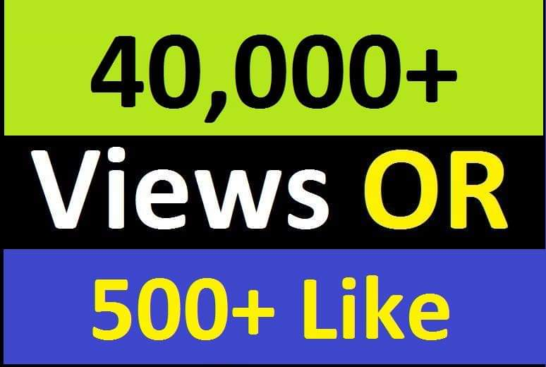 Fast 40K+ Social Video Views OR 500+ Likes Promotion with Safe Lifetime Guarantee