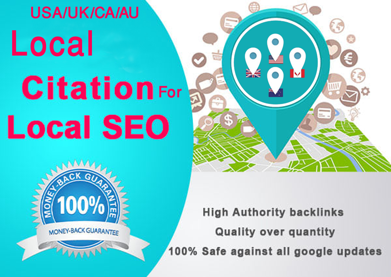 I will Do Manually TOP 40 Live USA/UK/CA/AU Local Citations for Local SEO. Satisfaction Guaranteed!!