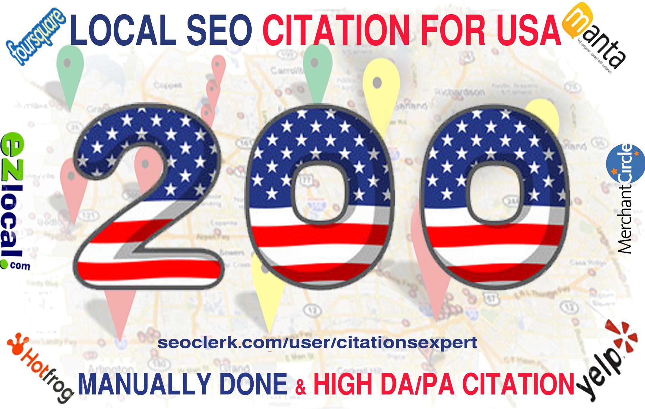 Build Top 200 Live USA Local Citation/Listing for SEO