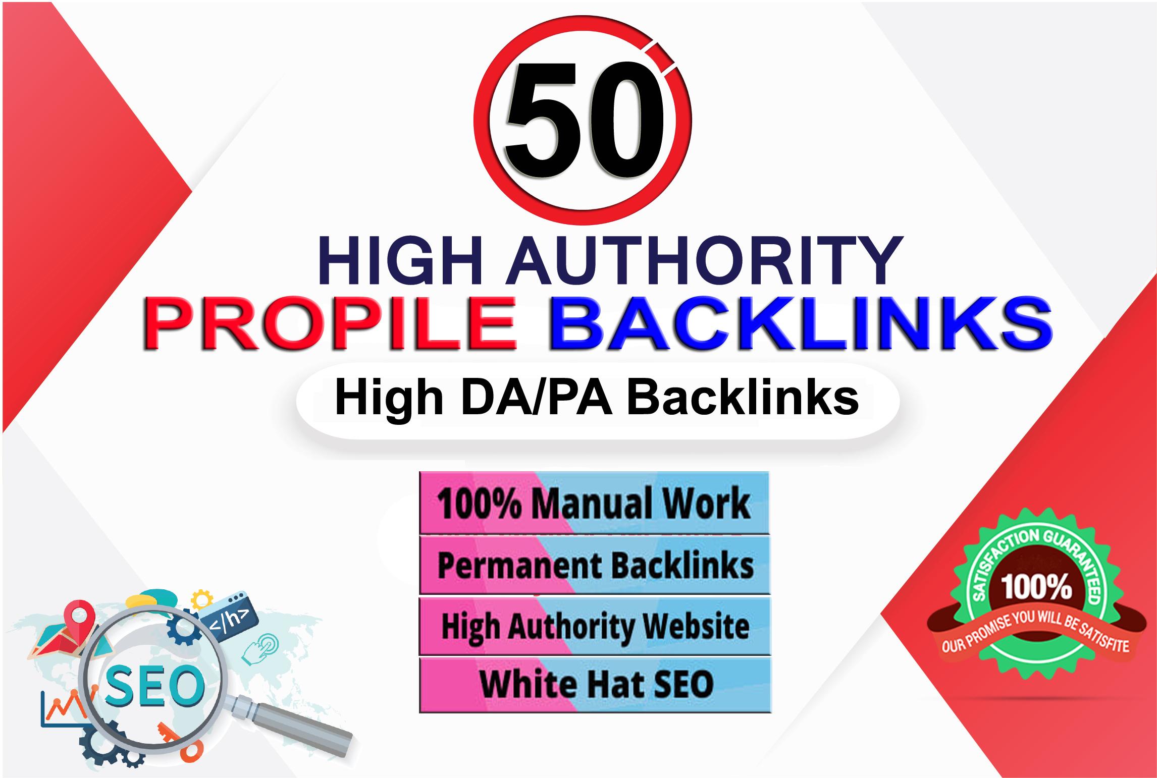I will create manually 50 High Authority profile backlinks for SEO. 100 Satisfaction Guarantee.