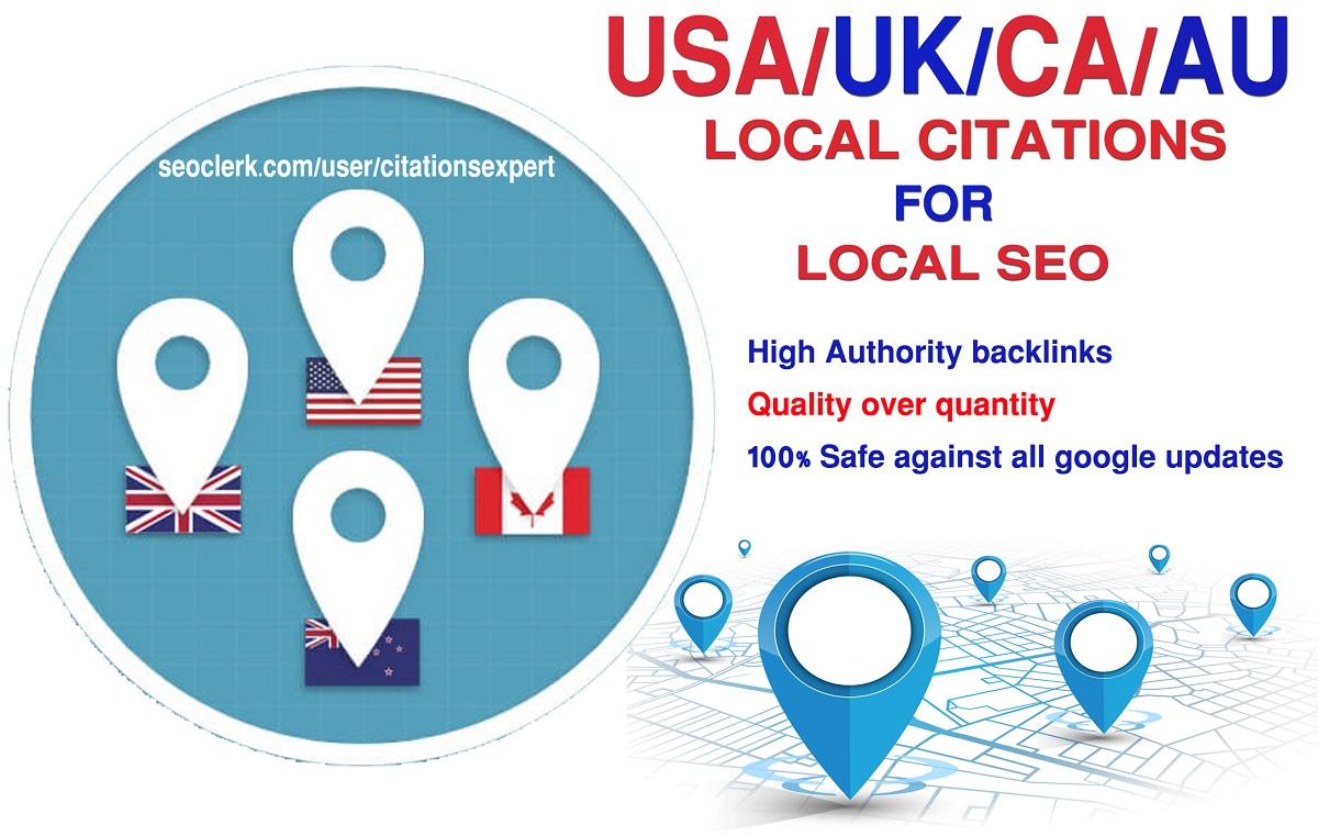 I will Do Manually TOP 35 Live USA/UK/CA/AU Local Citations for Local SEO. Satisfaction Guaranteed!!