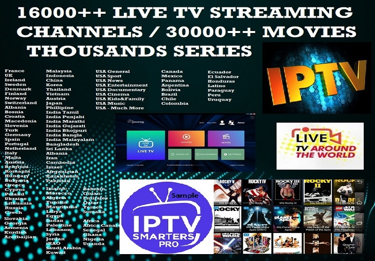 1-Month IPTV 16K+ Live TV Streaming Channels / Movies / Series From Around The World