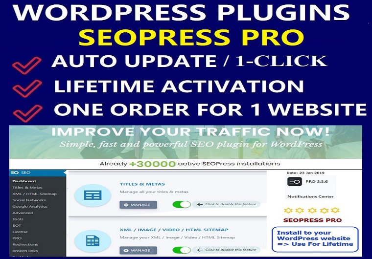 Install SEOPress Pro WordPress Plugin With License Activation For One Website