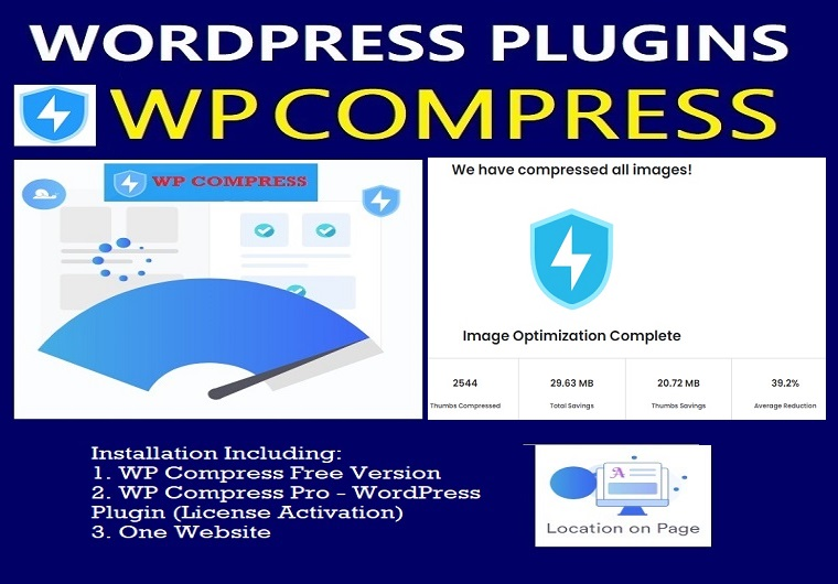 Install WP Compress Pro WordPress Plugin With License Activation For One Website