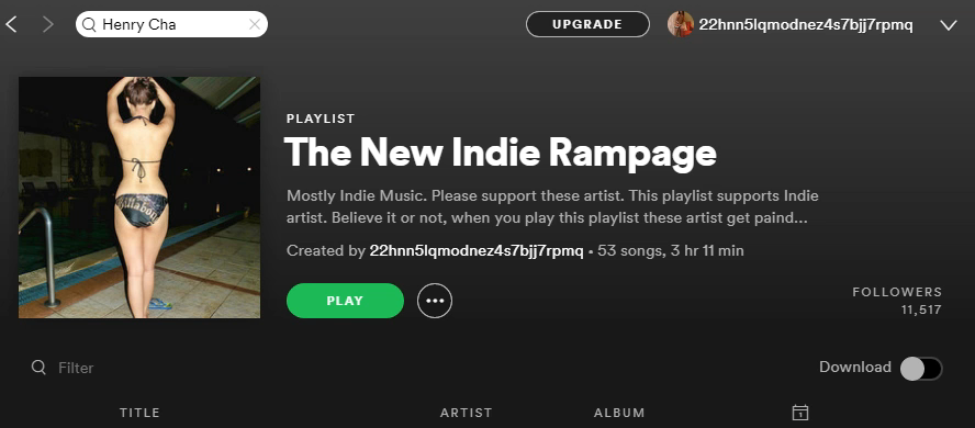 add one song to the New Indie Rampage playlist