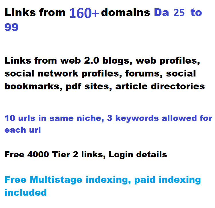 270+ High Authority links,  DA 45 to 99,  2 tiered from 160 domains seo link building service