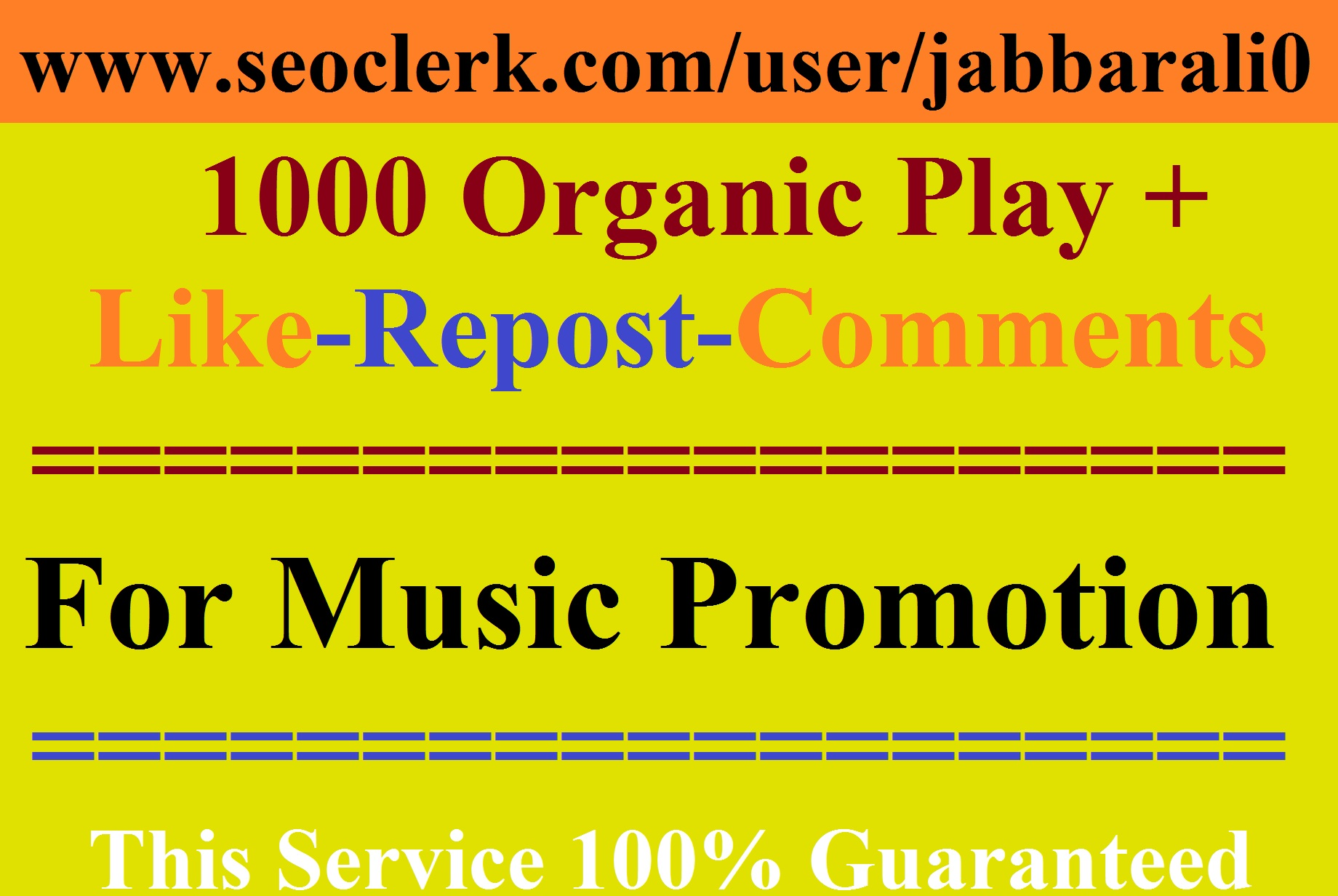 Get High Quality PIays for Any Audio Music Promotion