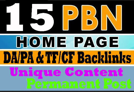 Created manual 15 homepage PBNs backlinks with unique content
