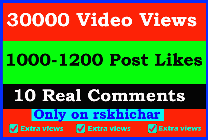 Fast 30000+ video views or 1000+ Likes or 10 comments Social media promotion