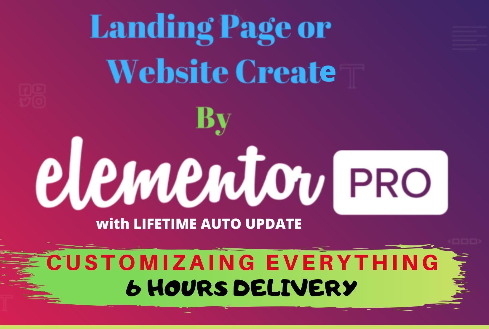 I will design landing page wordpress landing page elementor pro divi thrive