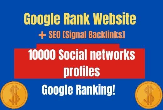 10000 SEO Signal Backlinks Google Rank Website Social Network profiles