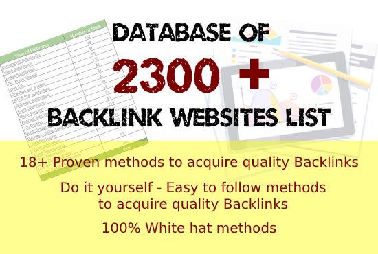 Database of 2300 plus Backlink Websites List