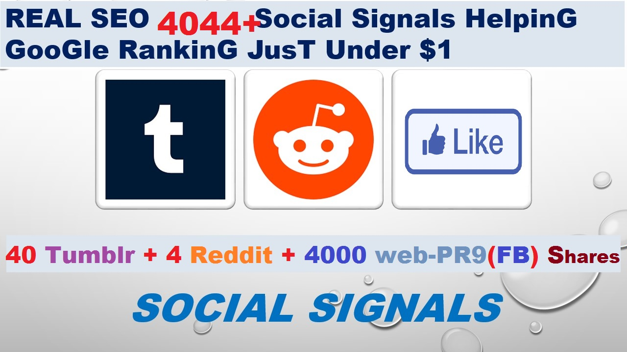 Real SEO 4 Reddit signals+ 40 Tumblr+ 4000 web PR9 Shares from SEO Social Signals Share Bookmark
