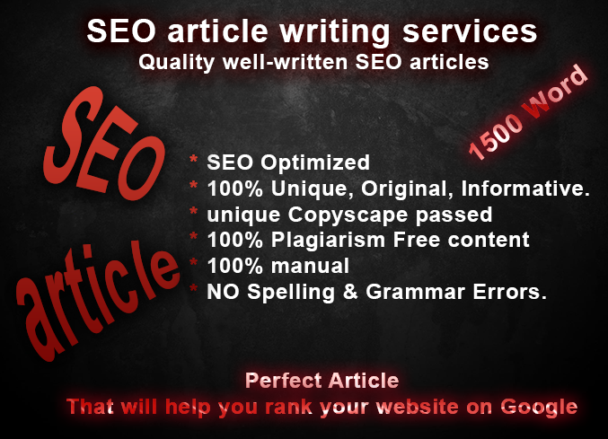 I will write high quality SEO articles,  blog posts and site content