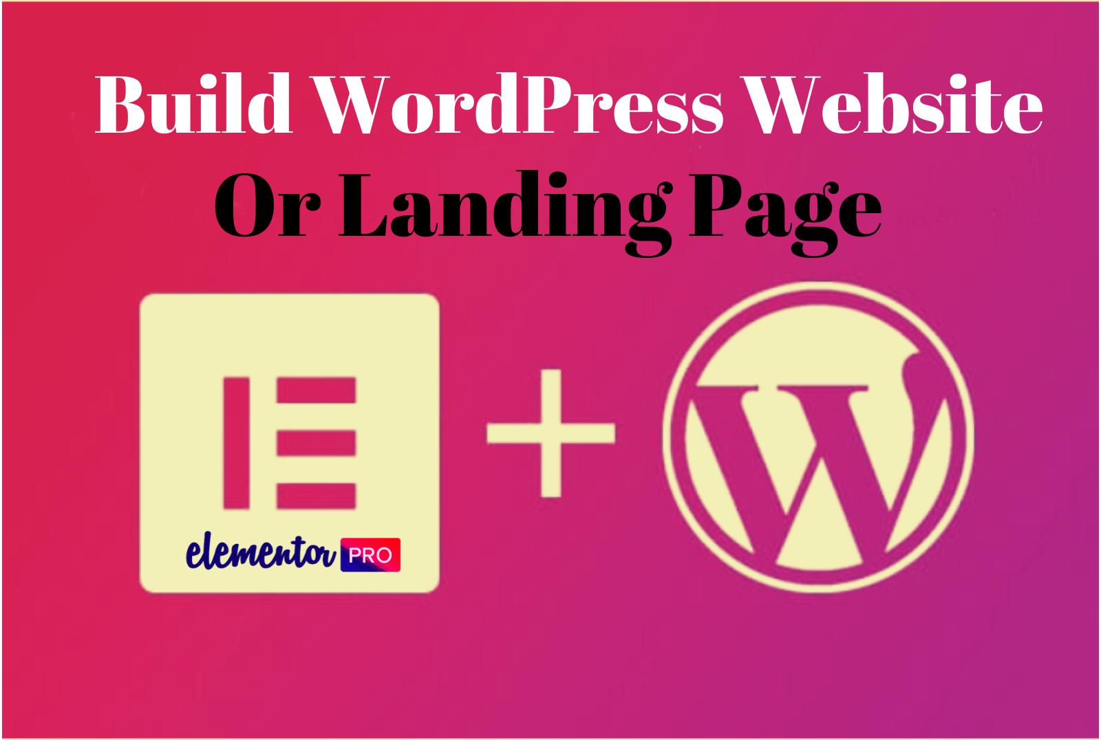 Design WordPress landing page using elementor Plugins
