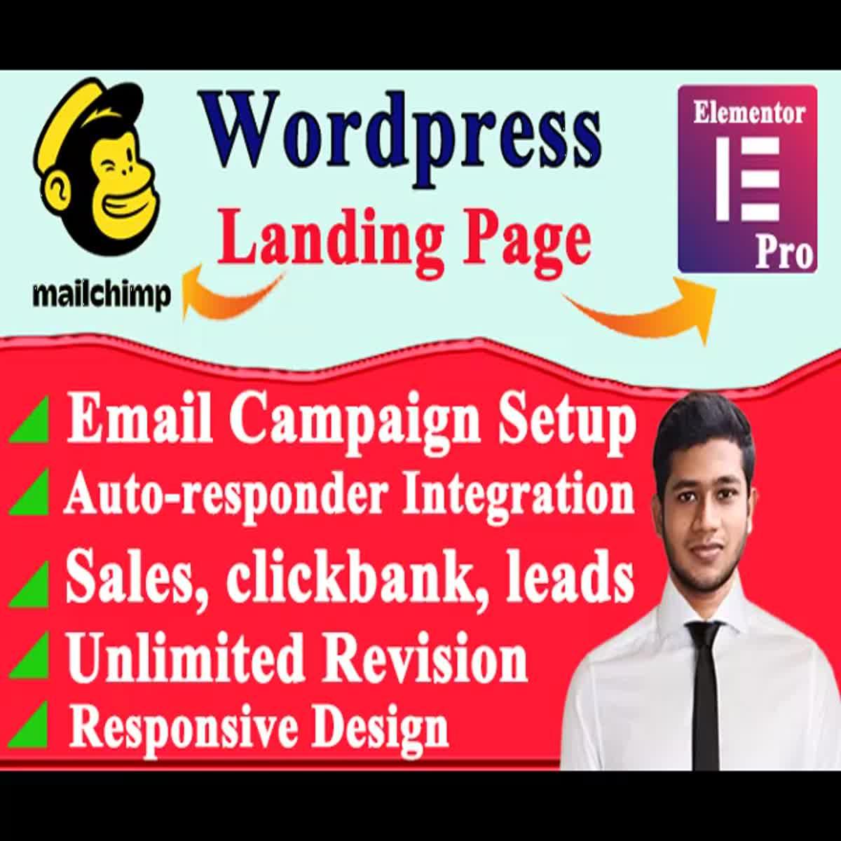 wordpress landing page design elementor landing page mailchimp landing page