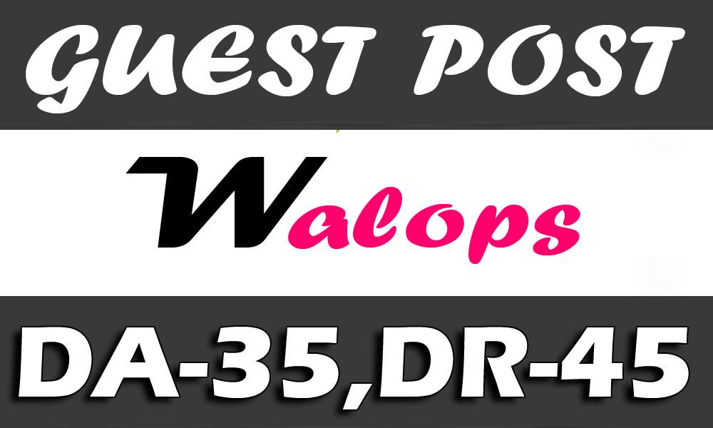 "I Will Publish an UNIQUE Guest Post on ""WALOPS"" DA-35"