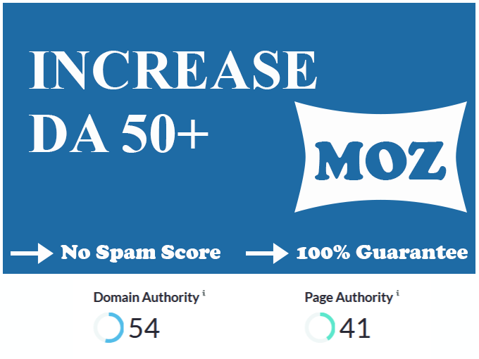 I will increase domain authority da up to 50 in 29 days