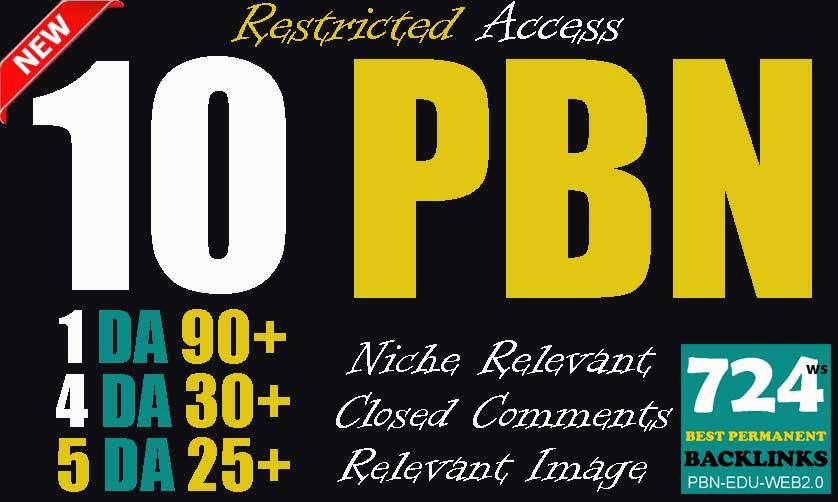 Buy 10 Superstrong PBN backlinks 1 DA90 + 4 DA30 + 5 DA25 Permanent links