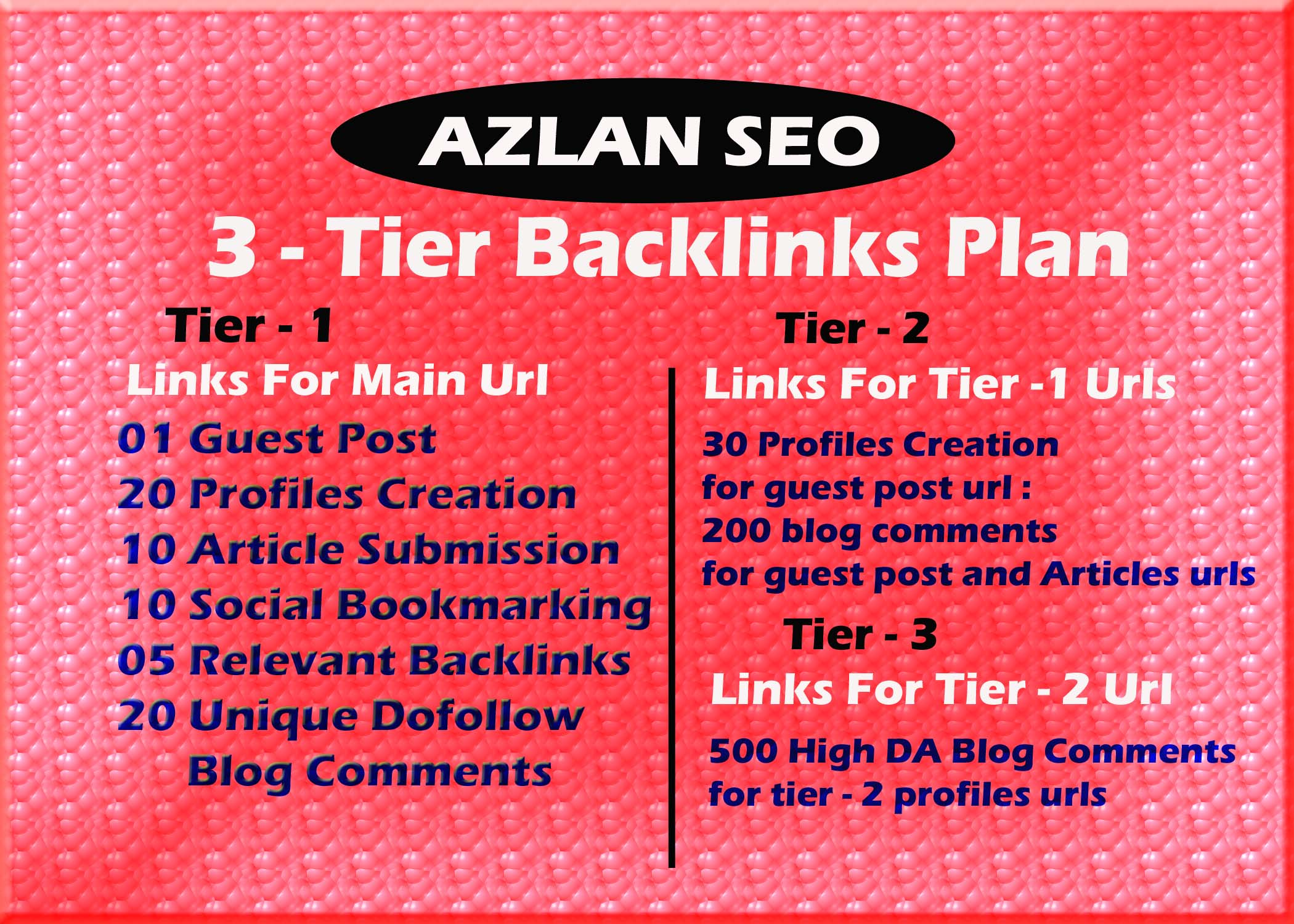 Provide Supreme 3 tier backlinks sky rocket package