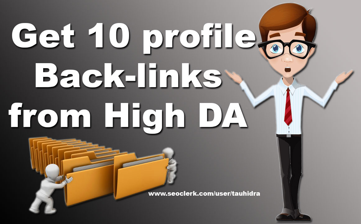 Get 10 Profile Backlinks from High DA