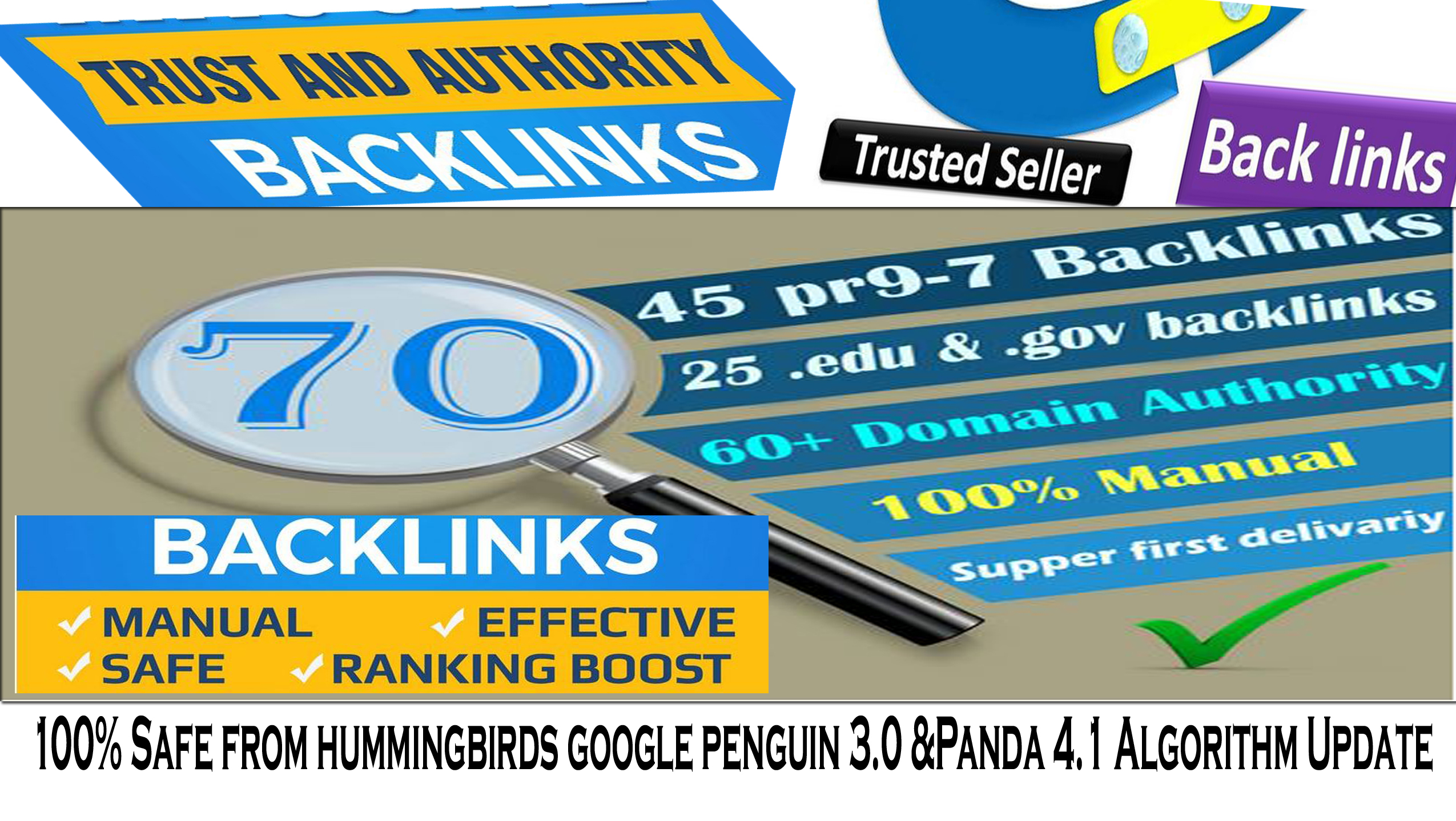 Get Increase your Google ranking with 70 Backlinks 50 PR9 + 20 EDU/GOV 80+DA manually with fast deli