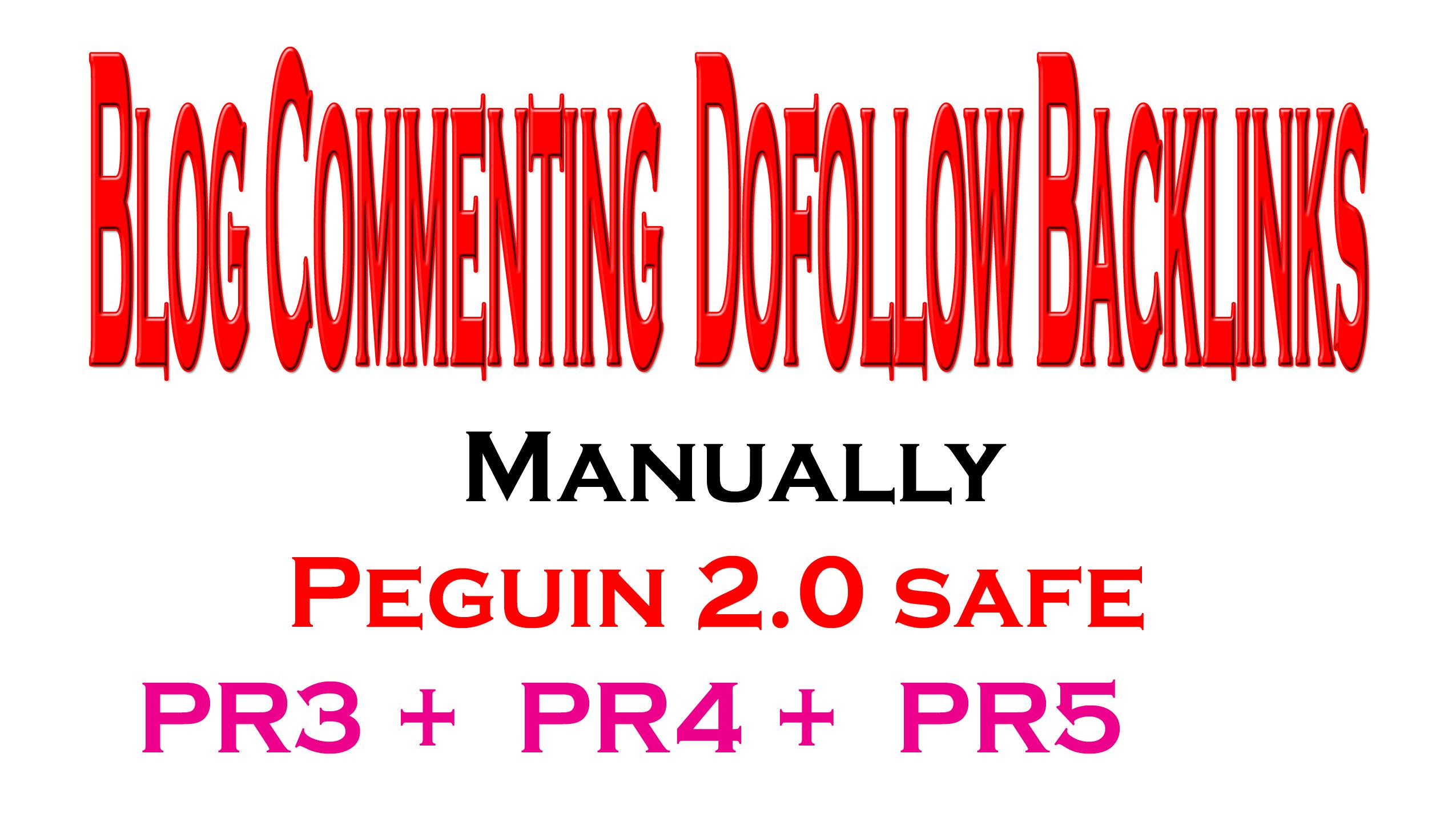 Get Manually Peguin 2.0 safe 5 PR3 + 5 PR4 + 5 PR5 Blog Commenting 100 Dofollow Backlinks