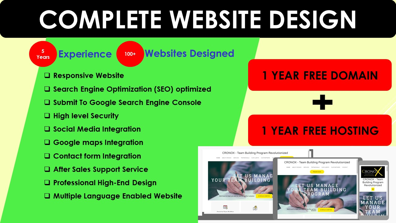 I provide complete package of domain,  hosting & Website Design