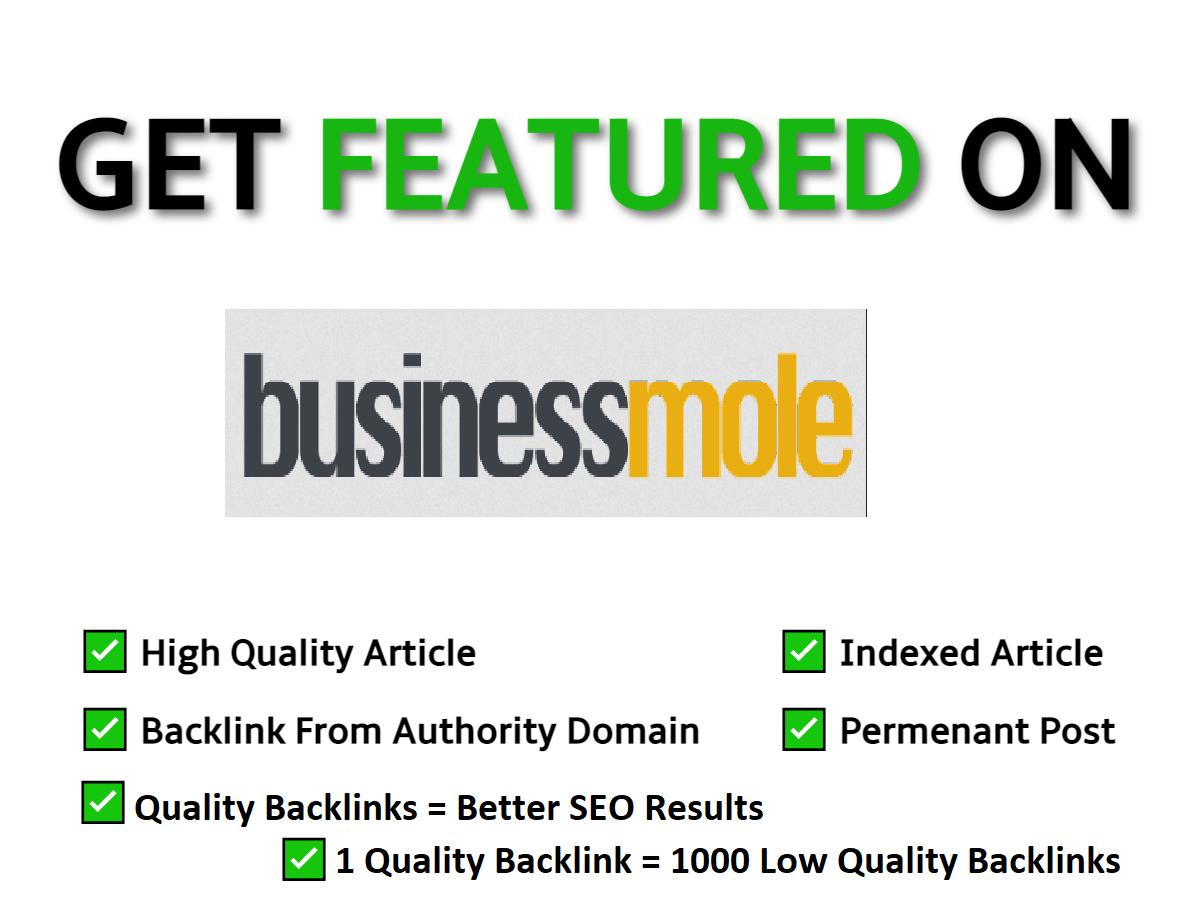 Guest post on Businessmole,  Businessmole. com DA50 Google News