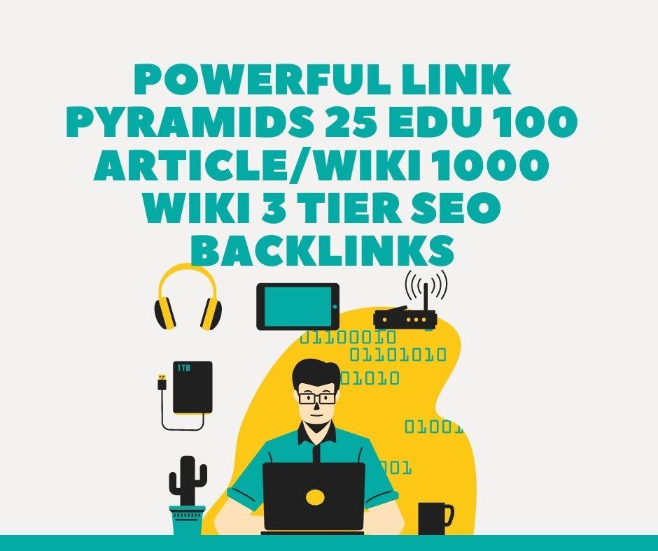 Powerful Link Pyramids 25 Edu 100 Article/Wiki 1000 Wiki 3 tier SEO backlinks