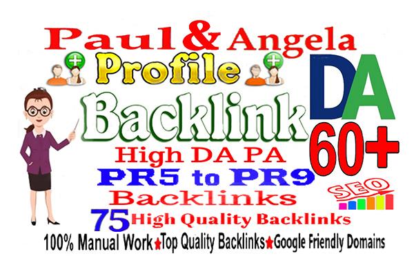 I will create 75 high quality DA 60 paul and angela profile Backlink