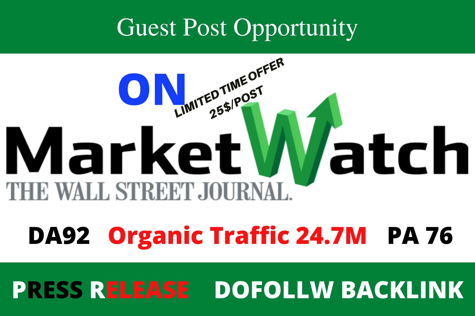 I will do marketwatch press release DA 91 organic traffic 24m