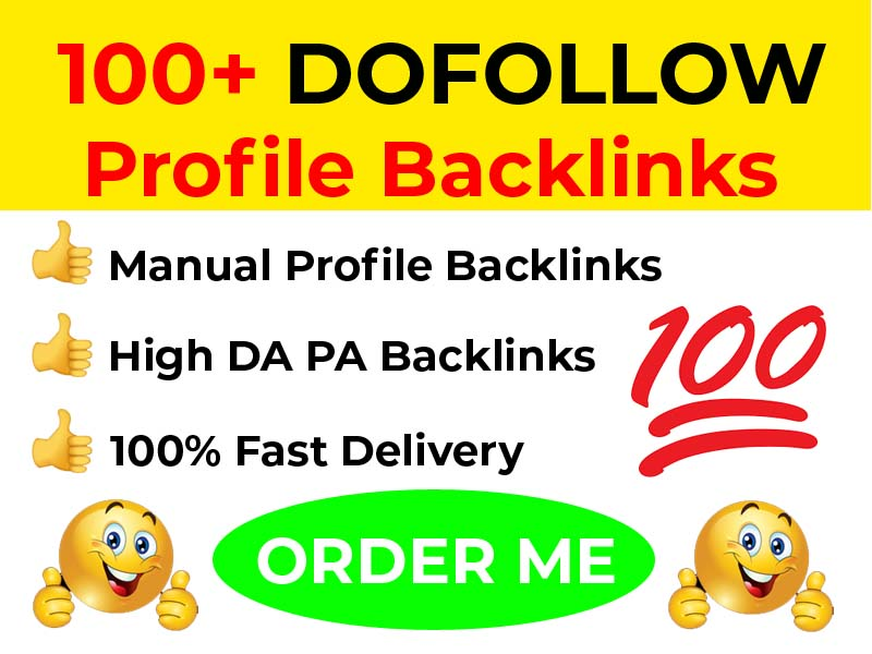 Manual 100 SEO Profile Backlinks From High Authority DA PA Sites