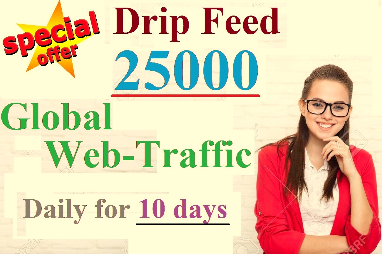 Drip Feed 25000 Global Web-Traffic Daily for 10 days