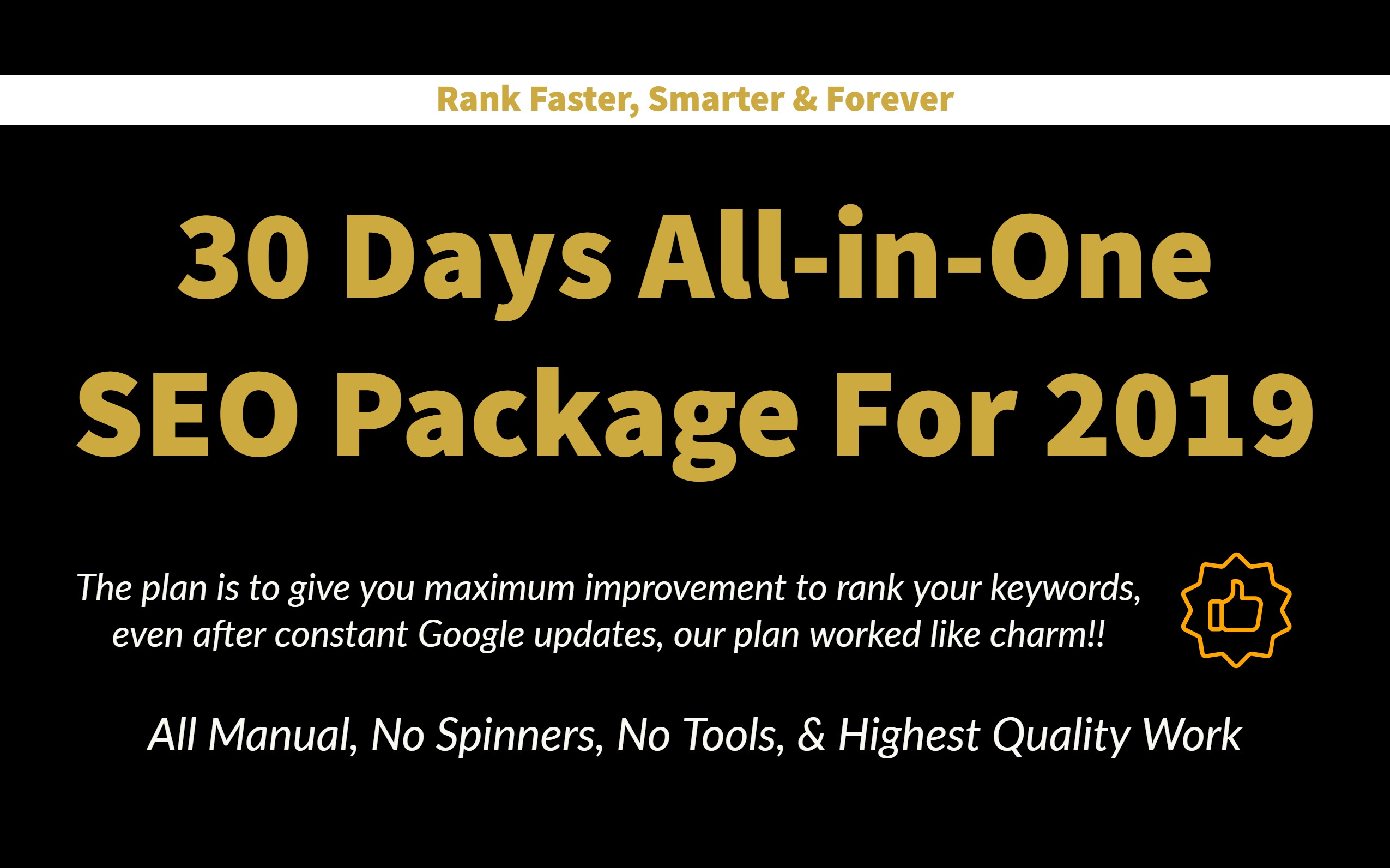 30 Days All-In-One SEO Package For 2019 - Rank Faster With New SEO Plan